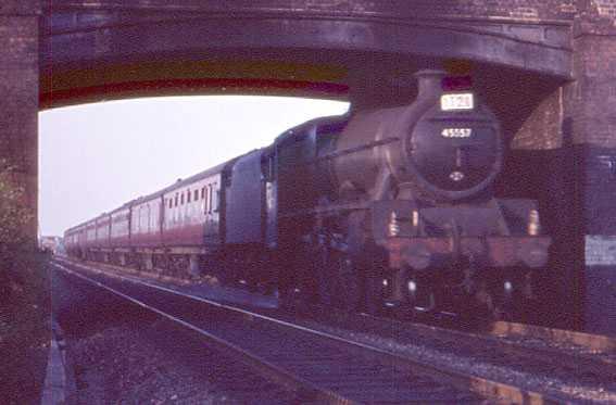 45557 New Brunswick passing Stenson Junction heading south to Birmingham