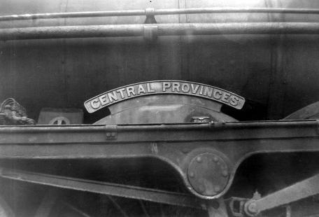 45582 Central Provinces nameplate, taken at Carnforth shed on 14 August 1962