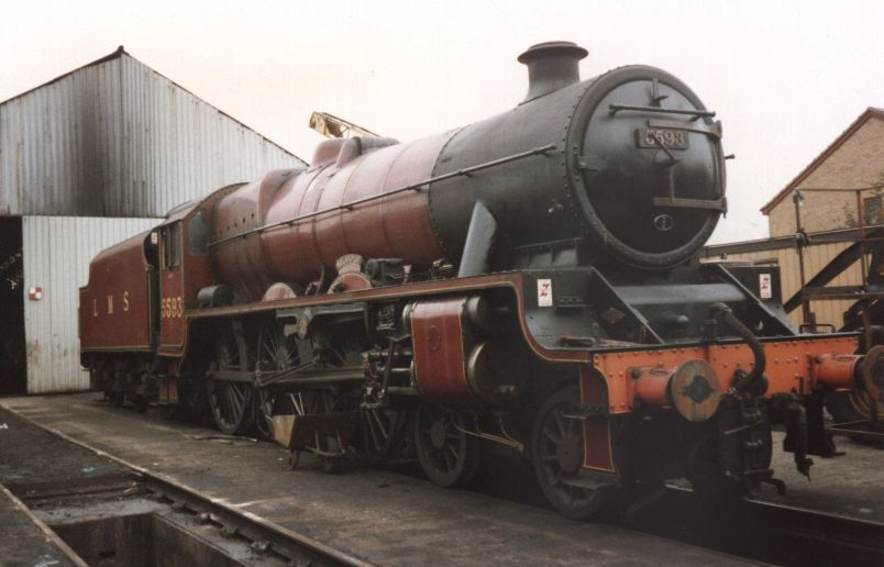 5593 Kolhapur in LMS red livery, outside Loughborough shed on Great Central Railway, 2 October 1989