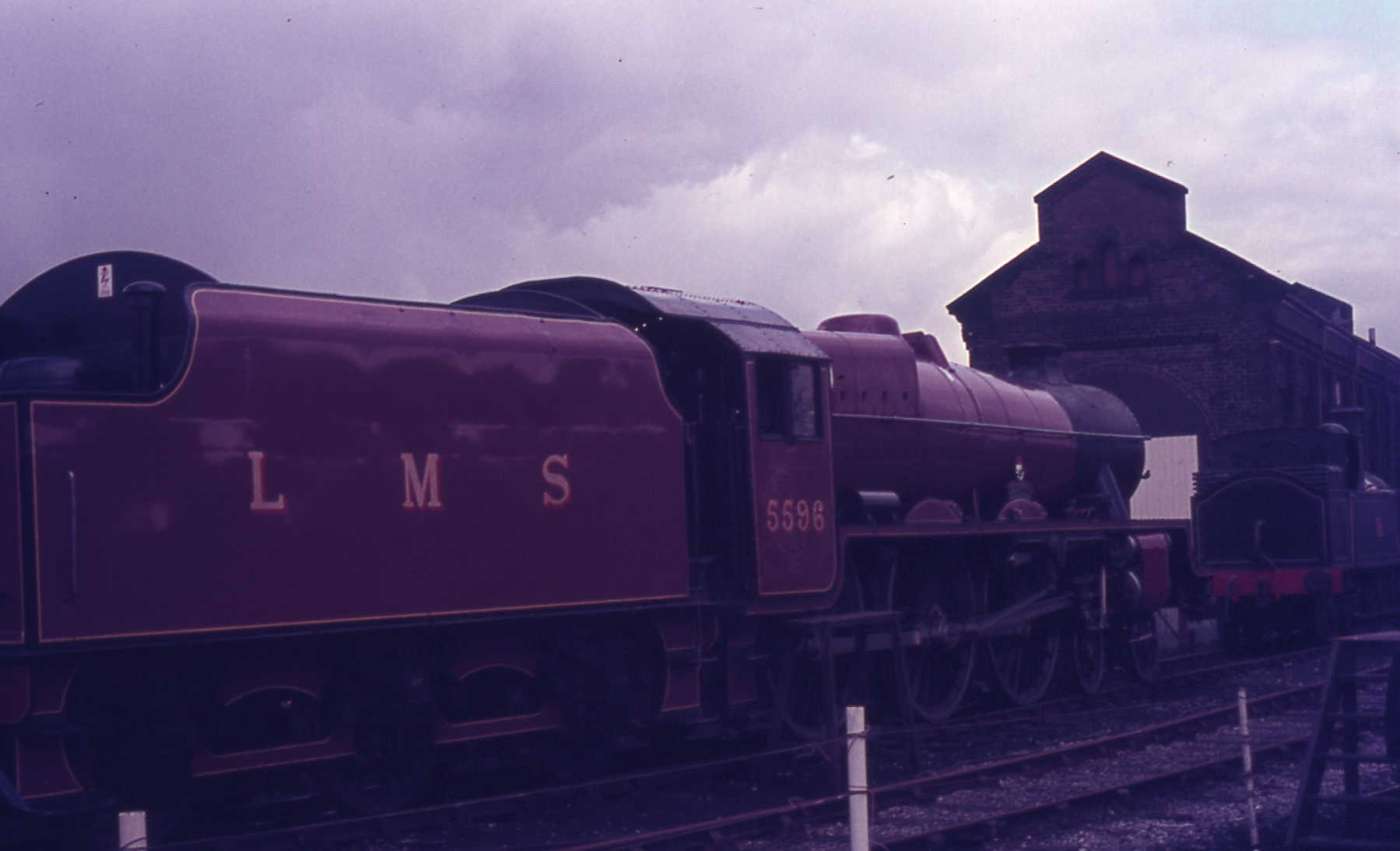 5596 Bahamas Preserved at Dinting in LMS livery in 1980