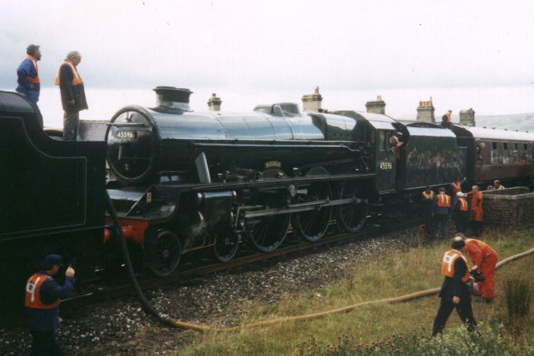 "45596 Bahamas behind ""Black 5"" number 44871 at Garsdale, 11 August 1993"