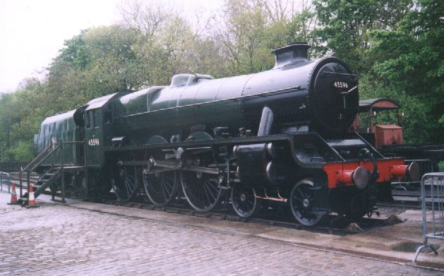 45596 Bahamas at Ingrow West on the Keighley & Worth Valley Railway, 17 May 2003