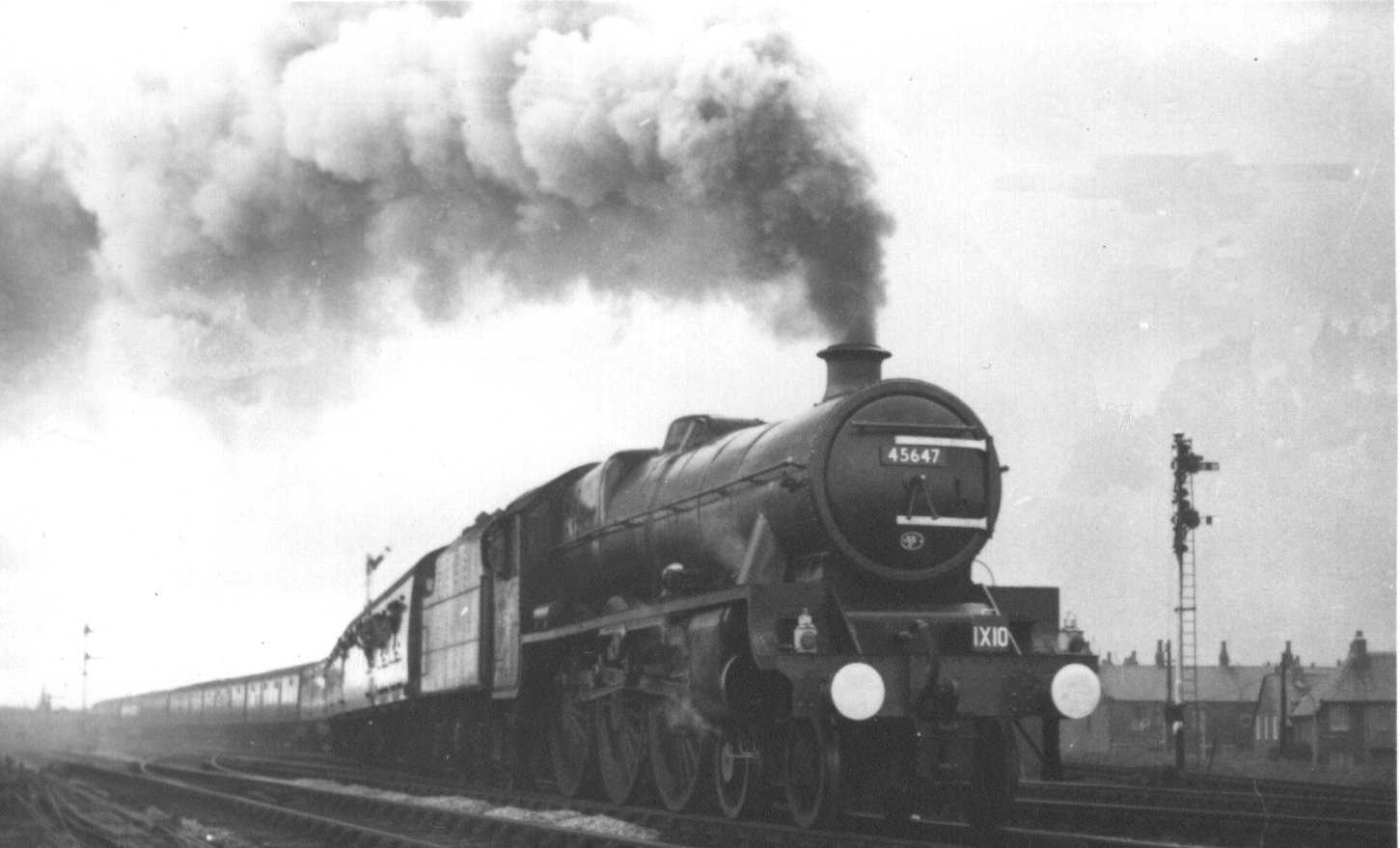 45647 Sturdee leaving Blackpool North with an excursion train, 23 October 1966