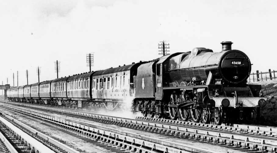 45658 Keyes at Whitmoor troughs on 31 March 1956