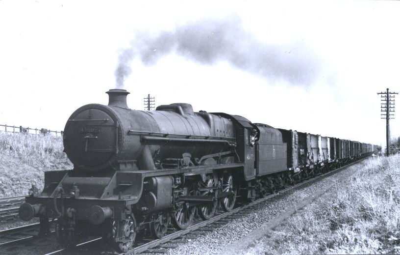 45669 Fisher with a freight trains at Ashton, 7 August 1959
