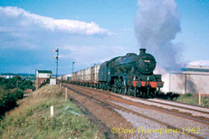 45682 Trafalgar on an up meat train leaving Northampton on Sunday 16th September 1962