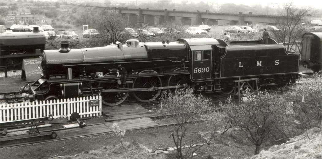 5690 Leander at Dinting Railway Centre on 11 April 1976