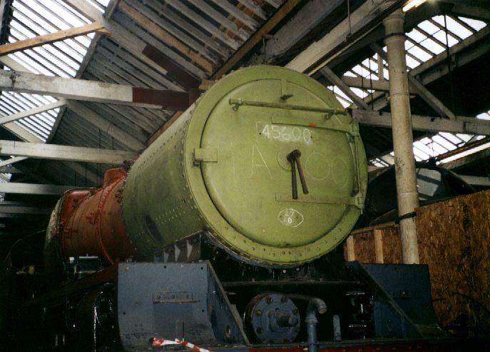 5690 Leander undergoing restoration at Bury, East Lancs Railway, 18 February 2002