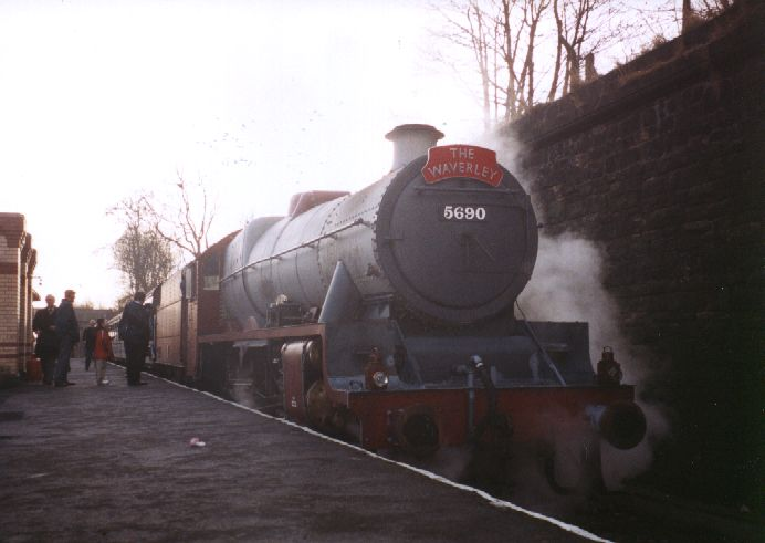 5690 Leander in undercoat at Bury, East Lancs Railway, 28 January 2003