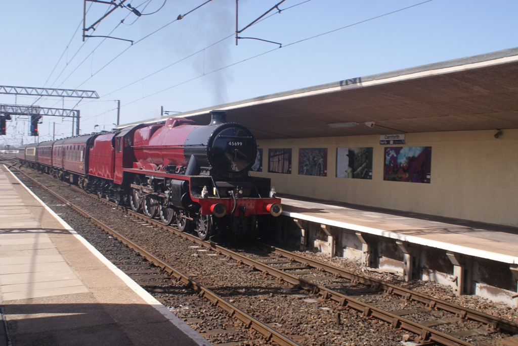 45699 Galatea running through Carnforth with a test train of four coaches, 16 April 2013